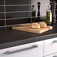 34mm Black star Black & light grey Stone effect Earthstone Round edge Kitchen Worktop, (L)3000mm