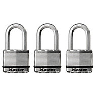 Master Lock Steel Pin tumbler Octagonal open shackle Padlock (W)50mm, Pack of 3