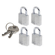Master Lock Aluminium Key Open shackle Padlock (W)20mm, Pack of 4