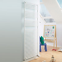 Acova Cala 1133W Electric White Towel warmer (H)1761mm (W)600mm