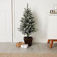 """36"""" Tarnaby Flocked potted Artificial Christmas tree"""