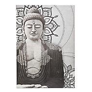 Buddha Grey Canvas art (H)650mm (W)925mm