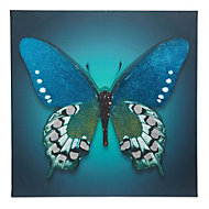 Butterfly Blue Glitter canvas (W)750mm (H)750mm