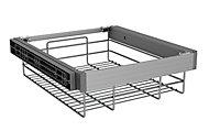 Darwin Wire Silver effect Aluminium & plastic Storage basket (H)147mm (W)450mm