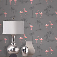 Colours Charcoal & pink Flamingo Mica effect Smooth Wallpaper