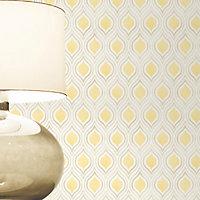 Colours Ailsa Soft lemon Geometric Smooth Wallpaper