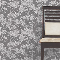 Colours Charcoal Maple tree Mica effect Smooth Wallpaper