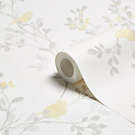 Colours Nadia Soft lemon Foliage & bird Mica Wallpaper