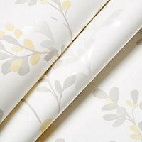 Colours Nadia Soft lemon Birds & foliage Mica effect Smooth Wallpaper