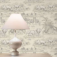 Colours Cream Watering hole animal safari Metallic effect Smooth Wallpaper