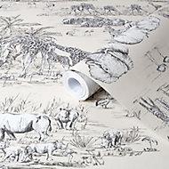 Colours Cream Watering hole animal safari Metallic effect Smooth Wallpaper