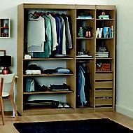 Form Perkin Oak effect Large Bedroom Storage kit (H)2008mm (W)1800mm (D)480mm