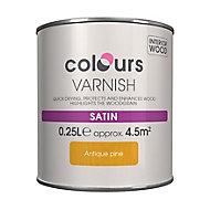 Colours Antique pine Satin Wood varnish, 0.25L