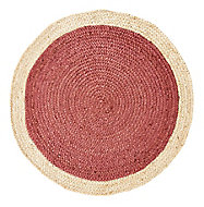 Colours Elma Two tone border Natural & rust Rug (L)0.9m (W)0.9m