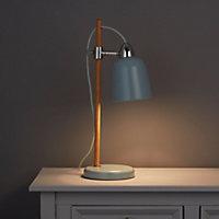 Matt Duck egg Oak effect LED Table lamp