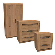 Darwin Oak effect 3 piece bedroom furniture set