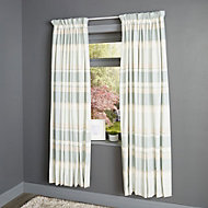 Cheyla Duck egg Stripe Lined Pencil pleat Curtains (W)117cm (L)137cm, Pair