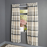 Cheyla Grey Stripe Lined Pencil pleat Curtains (W)117cm (L)137cm, Pair