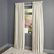 Christa Limestone Plain Lined Pencil pleat Curtains (W)167cm (L)183cm, Pair
