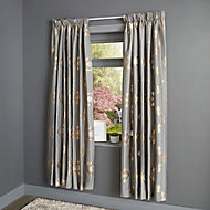 Chassidy Grey Geometric Lined Pencil pleat Curtains (W)117cm (L)137cm, Pair