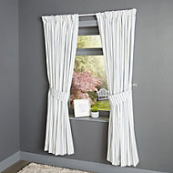 Christina Blue & white Striped Lined Pencil pleat Curtains (W)228cm (L)228cm, Pair