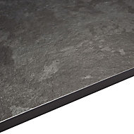 12.5mm Exilis Black Granite effect Square edge Laminate Vanity worktop (L)1.5m (D)425mm