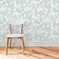 Blue Glenmara Mica effect Wallpaper