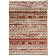 Colours Orla Striped Beige & rust Rug (L)1.7m (W)1.2m