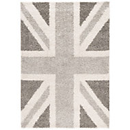 Colours Raegan Union jack Grey Rug (L)1.7m (W)1.2m