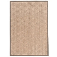 Colours Brenna Border Taupe Rug (L)1.7m (W)1.2m