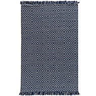 Colours Seraphine Geometric Navy & white Rug (L)1.7m (W)1.2m