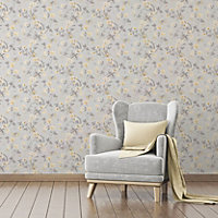 Colours Dorthea Soft grey Floral Mica Wallpaper