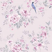 Colours Liora Purple Birds on floral trail Glitter Wallpaper