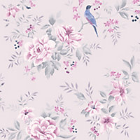 Colours Liora Purple Birds on floral trail Glitter effect Embossed Wallpaper