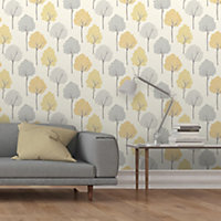 Colours Eula Grey & yellow Forest Smooth Wallpaper