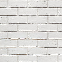 Colours Off White Brick effect Textured Wallpaper