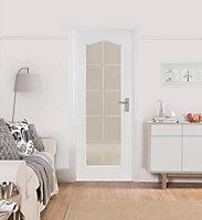 10 Lite Etched Glazed Arched Primed White Internal Door, (H)1981mm (W)762mm
