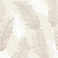 Colours Umali Brown & taupe Feather Glitter effect Embossed Wallpaper