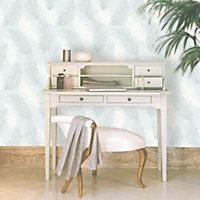 Colours Umali Duck egg Feather Glitter effect Embossed Wallpaper