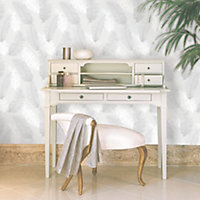 Colours Umali Grey Feather Glitter effect Embossed Wallpaper