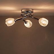 Kalang Chrome effect 3 Lamp Bathroom ceiling light