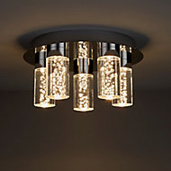 Hubble Brushed Chrome effect 5 Lamp Bathroom Ceiling light