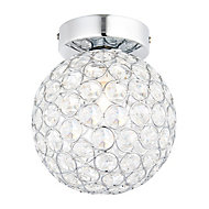 Lopez Brushed Chrome effect Bathroom Ceiling light