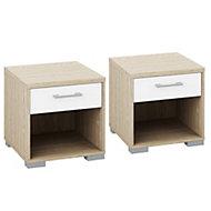 Evie White Oak effect 1 Drawer Bedside chest (H)393mm (W)402mm (D)342mm Set of 2