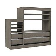Form Perkin Matt grey oak effect 6 Shelf Shelving & drawer system (H)1208mm (W)1398mm (D)480mm