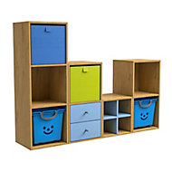 Form Konnect Oak effect 8 Cube Shelving unit