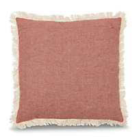 Cinnabar red & white Fringed Cushion