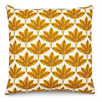 Fan leaf Cushion, Yellow & white