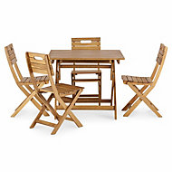 Denia Wooden 4 seater Dining set with 4 standard chairs