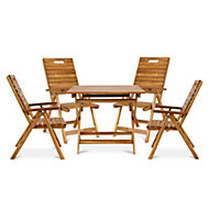 Denia Wooden 4 seater Dining set with 4 recliner chairs